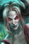 Queen Ghome's appearance changed frequently, but, her eyes with their terrible, withering stare, were always the same