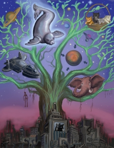 """Tree of Life"" by Ewelina Dolzycka.  The plot of Book II is told in this mural, with Carahil in the center as protector, the Planet Xandarr the object of his protection, and, in the wings, a weeping Maiax."