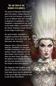 Back cover on LoE Book 9, featuring the irascible Hannah-Ben Shurlamp, EVoR (Painting by Carol Phillips)
