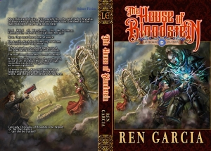 Cover mockup for the House of Bloodstein, volume 1 (artwork and lettering by Carol Phillips)