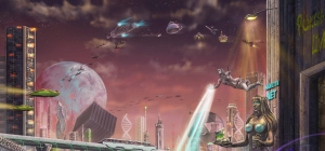 The city of Waam with an assortment of Bondar-inspired vehicles moving across the sky (Carol Phillips)